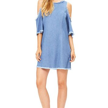 Shred Cold Shoulder Denim Dress