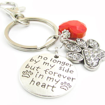 Paw Keychain and Heart Keychain with Ashes Urn