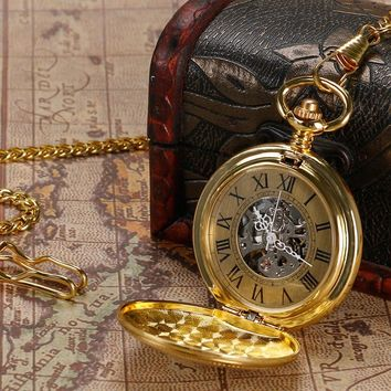 YISUYA  Antique Golden Pendant Pocket Watch Vintage Automatic Watches Men Mechanical  Shield Steampunk Fob Chain Xmas Gift