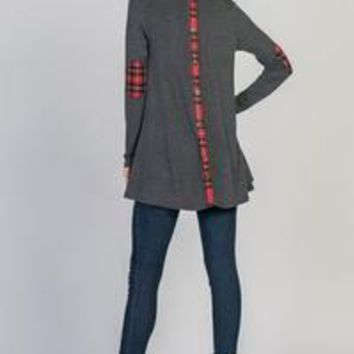 Style in USA's Solid French Terry Top Featuring Plaid Back Fake Placket and Elbow Patches