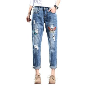 Butterfly Embroidered Girlfriend Jeans