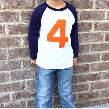 Orange 4 Birthday Shirt on Navy and White Raglan Birthday blue sports baseball long sleeves ball 4th four 1 2 3 5 6 7 8 9 party theme favors