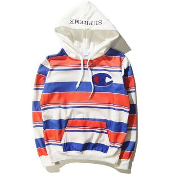ESBONPR Supreme Print Unisex Lover's Stripes Loose Hoodies pullover Sweater