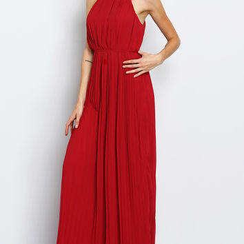 Red Halterneck Pleated Infinity Maxi Dress