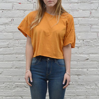 Mustard Yellow Crop Tee - One Size