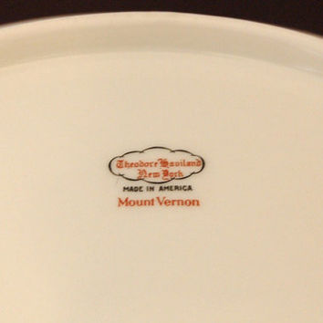 Theodore Haviland New York Mount Vernon Porcelain Vegetable Bowl Very Rare Limoges