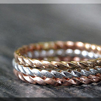 Tri Color Rope Ring Stack, Hand Twisted Ring, Set of 3 Rings, Gold Filled Textured Stackable Ring, Braided Ring, Silver Rose and Gold ring