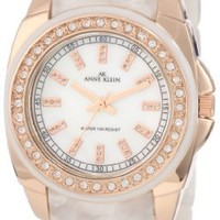 Anne Klein Women's 10/9668RGIV Ivory Marbleized Resin Bracelet Rosegold-Tone Case and Swarovski Crystals Watch