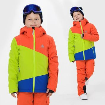 2018 winter children's multi-color ski suit single and double board boys and girls ski jacket travel mountaineering sportswear