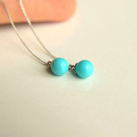 Earrings : 925k sterling silver chains with turquoise colored mallorca pearl gift for wedding, dangle earrings, majorca
