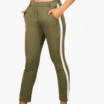 Lynn Stripe Side Trouser | Boohoo
