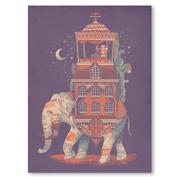 Wall Art, Elephant Print, India Poster, Animal Art, Traveler, Mustache, Purple, 18 x 24 Art Print