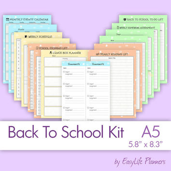 "BACK TO SCHOOL A5. (5.83"" x 8.27"") Printable pdf Inserts. Homework and Lunchbox Planner. School Supplies. Instant download. 14 Sheets"