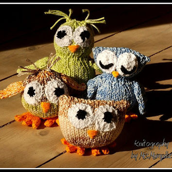 Toy owl knitting pattern for 4 different owls - PDF pattern - instant download