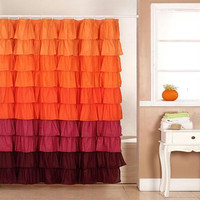 Lavish Home Harvest Ruffle Shower Curtain w- Buttonhole