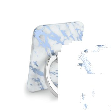 White Marble Blue Chrome Phone Ring