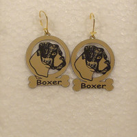 1949 Boxer Uncropped Head Earrings by gclasergraphics on Etsy