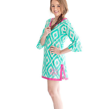 Mint Ikat Beach Tunic, Bathingsuit Coverup, Bathing Suit Cover Up, Beach Dress, Pool Cover Up, Pool Coverup, Pool Dress