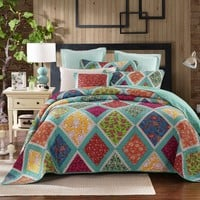 Dada Bedding Fairy Forest Glade Bohemian Floral Cotton Patchwork Bedspread Set (JHW-570)