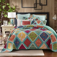 Dada Bedding Fairy Forest Glade Bohemian Floral Diamond Patchwork Quilted Bedspread Set (JHW-570)