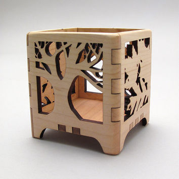 Votive Candle Holder Tree of Life in Maple  by TimberGreenWoods