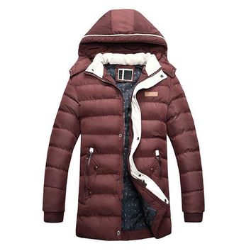 Casual Winter Thicken Mid Long Detachable Hood Puffer Jacket for Men