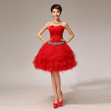 Free Shipping Red Strapless Feather Bridesmaid Dresses Girls Short Ball Gowns Party Frocks 2017 Summer LF117