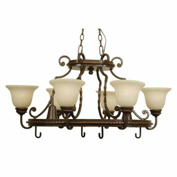 Jeremiah by Craftmade 8138AG8 Riata Aged Bronze Eight-Light Pot Rack