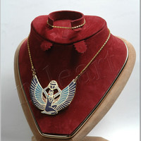 Egyptian Enameled Winged Isis Holding Scarab Necklace halloween