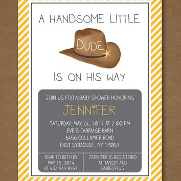 Little Dude Baby Shower Invitation, Boy Baby Shower, Cowboy Baby Shower, Western Baby Shower, Country Western, Printable Invitation 5x7""
