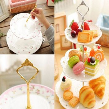 1 Sets 2 or 3 Tier Cake Plate Stand(Plate Not Include) Handle Crown Fitting Metal Wedding Party Silver/Golden Free Shipping