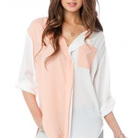 Colorblock Alfie Blouse in Peach - ShopSosie.com