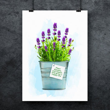 Lavender digital poster, Office plant print, Houseplant print, Watercolor, Flower prints, Flower printable, Plant quote, INSTANT DOWNLOAD