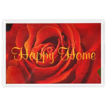 Happy Home red rose close-up with morning dew Rectangle Serving Trays