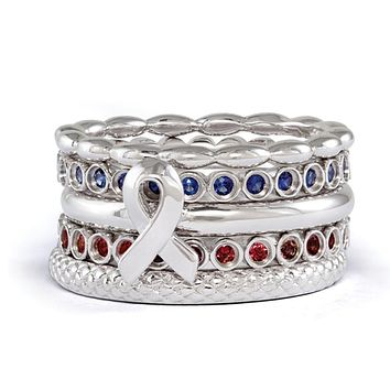 Stackable Sterling Silver Awareness Ribbon & Gemstone Ring Set