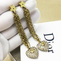 DIOR Popular Women Retro Stylish Chain Heart Pendant Earrings Jewelry Accessories