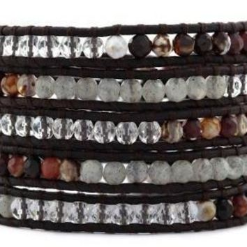 Handmade 5 Layer Leather Wrap Bracelet with Maroon Fire Agate, African Opal and Clear Crystal on Natural Dark Brown Leather