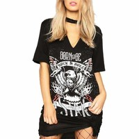 Black Letter Print Loose Women Punk Shirt Mini Dress