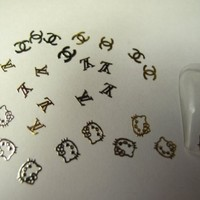 Tiny Nail Art 300 Mix Design Silver & Gold Metal Slice Sticker for Nails