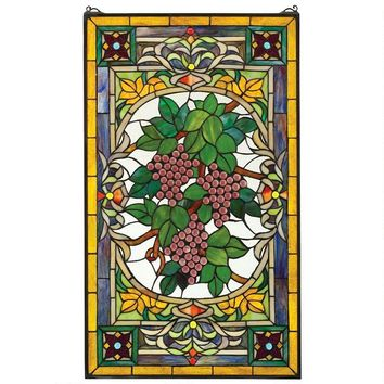Wine Grapes Tuscan Fruit of Vine Burgundy Yellow Stained Glass Window 34H
