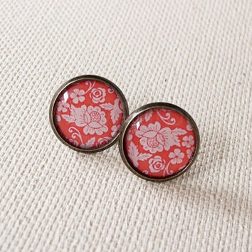 Red Floral Earring Studs - Red Pink Flower Earring Posts - Rose Jewelry - Floral Jewelry