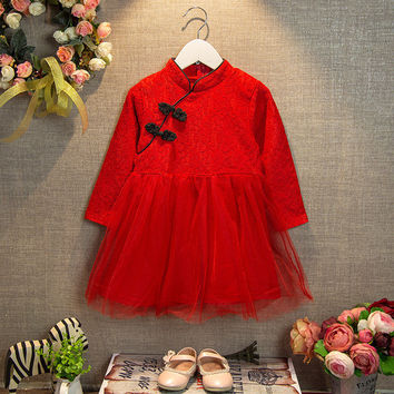 2-7 yre cotton spring new 2016 party dresses princess girls clothes fashion kids children coat next summer baby cheongsam