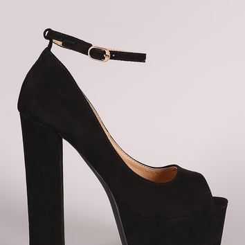 Liliana Suede Ankle Strap High Platform Pump