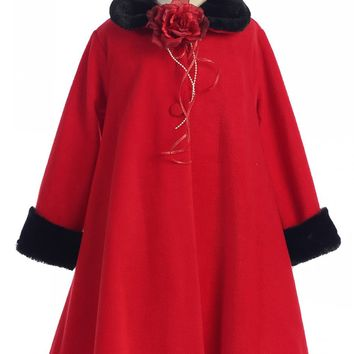 Red Fleece Girls Dress Coat with Black Fur Trim 2-12