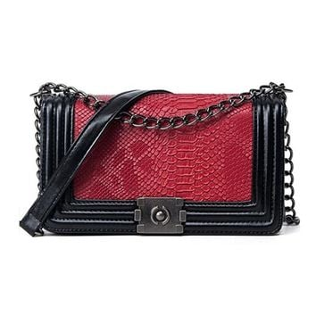 Fashion Clutch handbag snakeskin pattern shoulder women messenger leather  Bag
