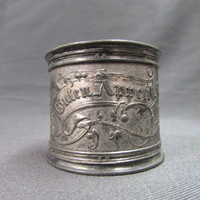 Antique German Pewter Napkin Ring  Monogrammed Dated 1890 Guten Appetit Scrolling