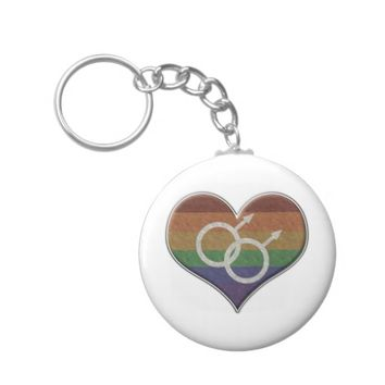 Gay Pride Rainbow Heart with Male Gender Symbol