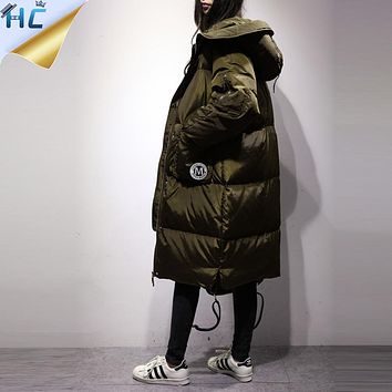Warm Parka Women 2016 Korea Fashion High Quality Hooded Big Pocket Loose Thicken Long Down Feather Black Plus Size Winter Coat