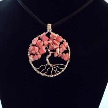 Pink Opal and Sterling Silver Tree of Life Necklace