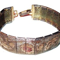"Rose Gold Mesh Panel Bracelet Etched Floral Pattern Asian Flair 7"" Vintage"